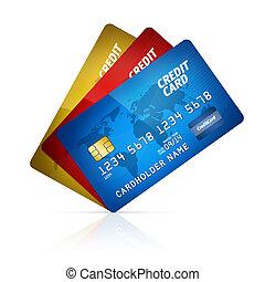 tarjeta de crédito, colección, aislado