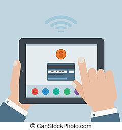 tarjeta de crédito, móvil, pago, tenencia de la mano, tableta, plano, diseño