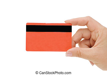 tarjeta de crédito, mano femenina