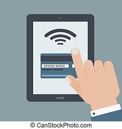 tarjeta de crédito, pago, tenencia de la mano, tableta, plano, diseño