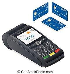 tarjeta de crédito, plano de fondo, terminal, blanco