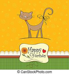 tarjeta de cumpleaños, con, divertido, gato