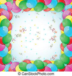 tarjeta de cumpleaños, con, globo