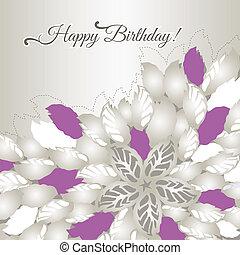 tarjeta de cumpleaños, con, rosa florece
