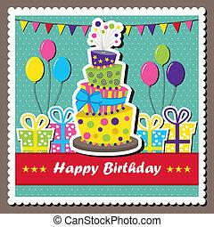 tarjeta de cumpleaños, con, topsy-turvy, pastel