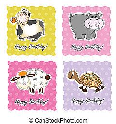 tarjeta de cumpleaños, conjunto, con, animales
