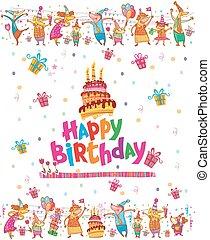 tarjeta de cumpleaños, diseño, con, pastel