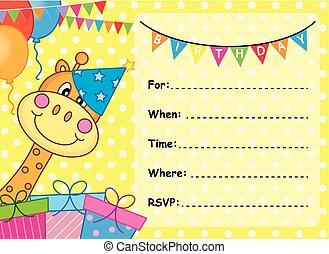 tarjeta de cumpleaños, invitación