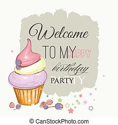 tarjeta de cumpleaños, lindo, cupcake, fruits, y, bienvenida, a, mi, feliz cumpleaños, fiesta, texto
