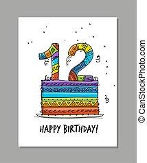 tarjeta de felicitación, aniversario, plantilla,...