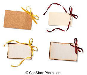 tarjeta de felicitación, con, cinta, nota