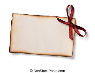 tarjeta de felicitación, con, cinta, nota, navidad