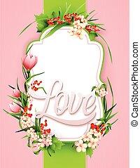 tarjeta de felicitación, con, colorido, flor, fondo.