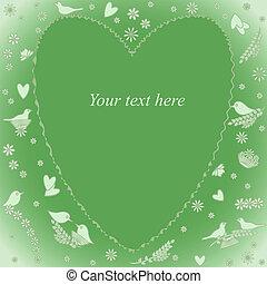 tarjeta de felicitación, con, corazón, y, flores