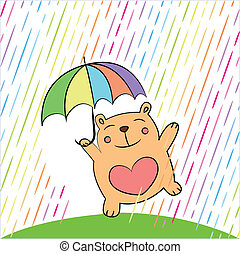 tarjeta de felicitación, con, divertido, oso