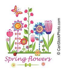 tarjeta de felicitación, con, flores del resorte