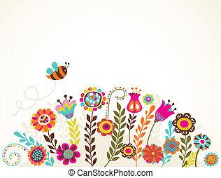 tarjeta de felicitación, con, flores
