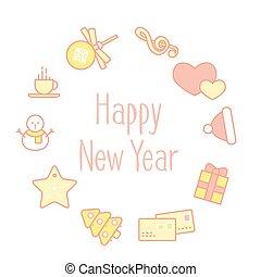 tarjeta de felicitación, con, línea, navidad, iconos, en forma, de, círculo, mínimo, estilo