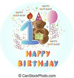 tarjeta de felicitación, feliz cumpleaños, con, oso