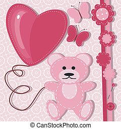 tarjeta de felicitación, para, bebé con, teddy, b