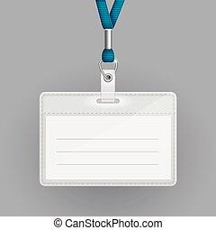 tarjeta de identificación, plantilla, blanco