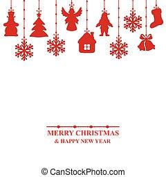 tarjeta de navidad, adornado, baratijas
