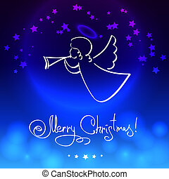 tarjeta de navidad, con, ángel