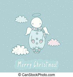 tarjeta de navidad, con, ángel, en, cielo