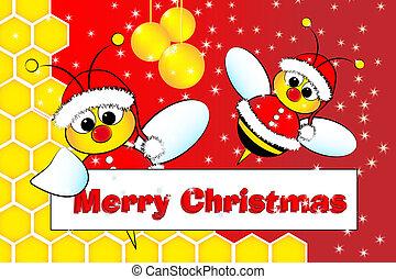 tarjeta de navidad, con, abejas, santa claus, y, colmena