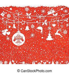 tarjeta de navidad, con, ahorcadura, ornamentos, en, textura, fondo rojo