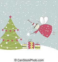 tarjeta de navidad, con, angel., vector, ilustración