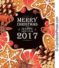 tarjeta de navidad, con, calentó con azúcar y especias vino,...