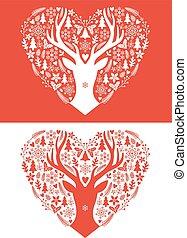 tarjeta de navidad, con, corazón, vector