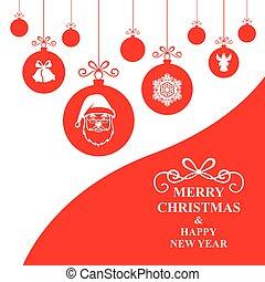 tarjeta de navidad, con, cuelgue, decorativo, pelotas