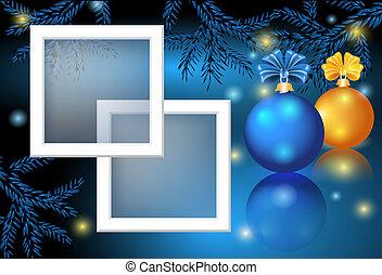 tarjeta de navidad, con, marco de la foto