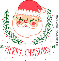 tarjeta de navidad, con, santa