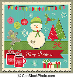 tarjeta de navidad, con, snowman