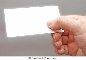 tarjeta de papel, en, mujer, mano