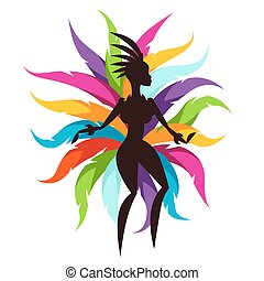 tarjeta, decorativo, bailarín, colorido, carnaval, plumas, ...