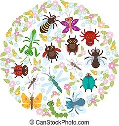 tarjeta, diseño, en un círculo, divertido, insectos, araña, mariposa, libélula, mantis, escarabajo, avispa, mariquitas, blanco, fondo., vector