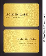 tarjeta, dorado, lujo, vendimia, patrón