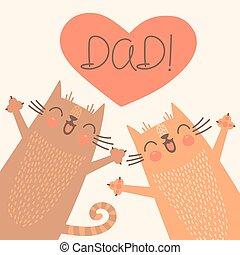 tarjeta, dulce, día de padres, cats.
