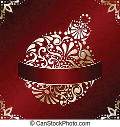 tarjeta, elegante, navidad, rojo