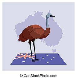 tarjeta, emu, saludo, australiano