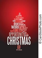 tarjeta, estación, resumen, navidad, palabras