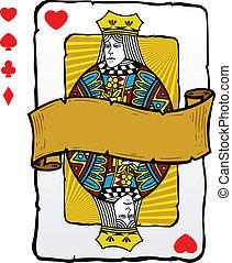 tarjeta, estilo, reina, juego, ilustración