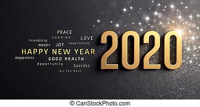 tarjeta, feliz, año, nuevo, 2020, saludo