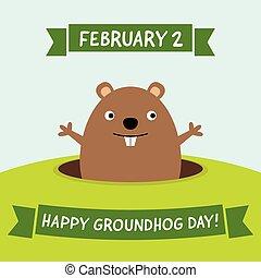 tarjeta, feliz, marmota, día, saludo