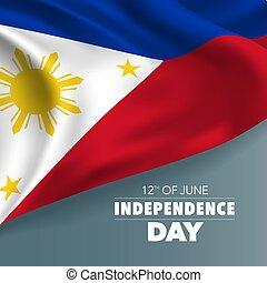 tarjeta, filipinas, saludo, ilustración, vector, bandera,...