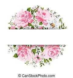 tarjeta, flowers-, vendimia, peonía, camomile, rosa